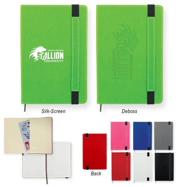 Silk-screening allows for decals to be placed on a wide range of notebooks to further market your business.