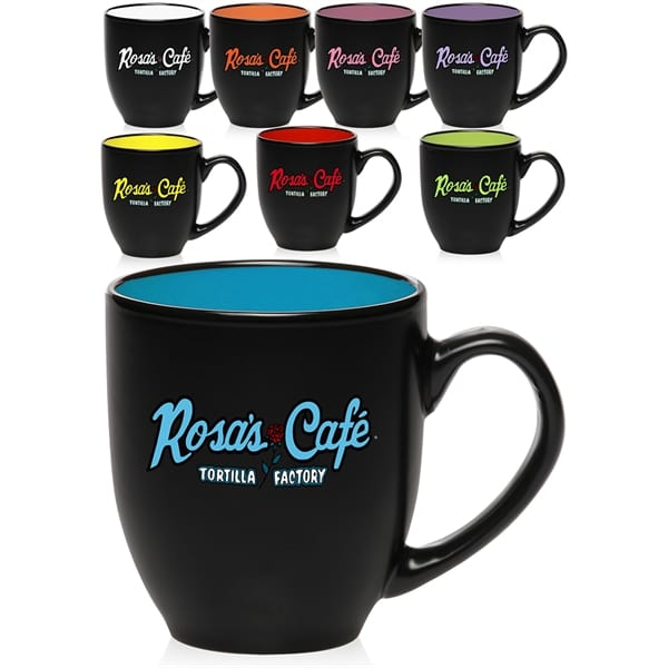 A black mug with Rosa's Cafe: Tortilla Factory on the outside and a bright blue interior shows what kind of customizable options there are for drinkware.