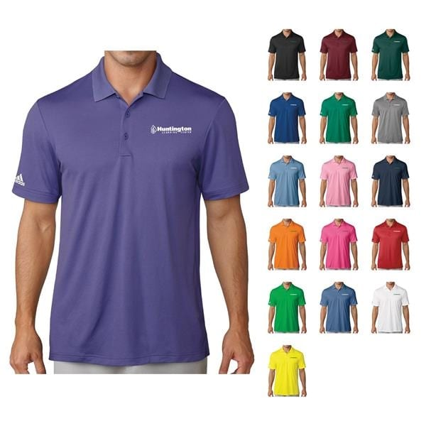 A man wears a collared purple shirt beside many other color options and logos available for customization.