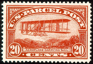 aeroplane carrying mail postage stamp from 1913