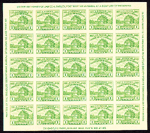 american philatelic society postage stamp sheet from 1933
