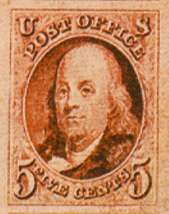 benjamin franklin postage stamp from 1847