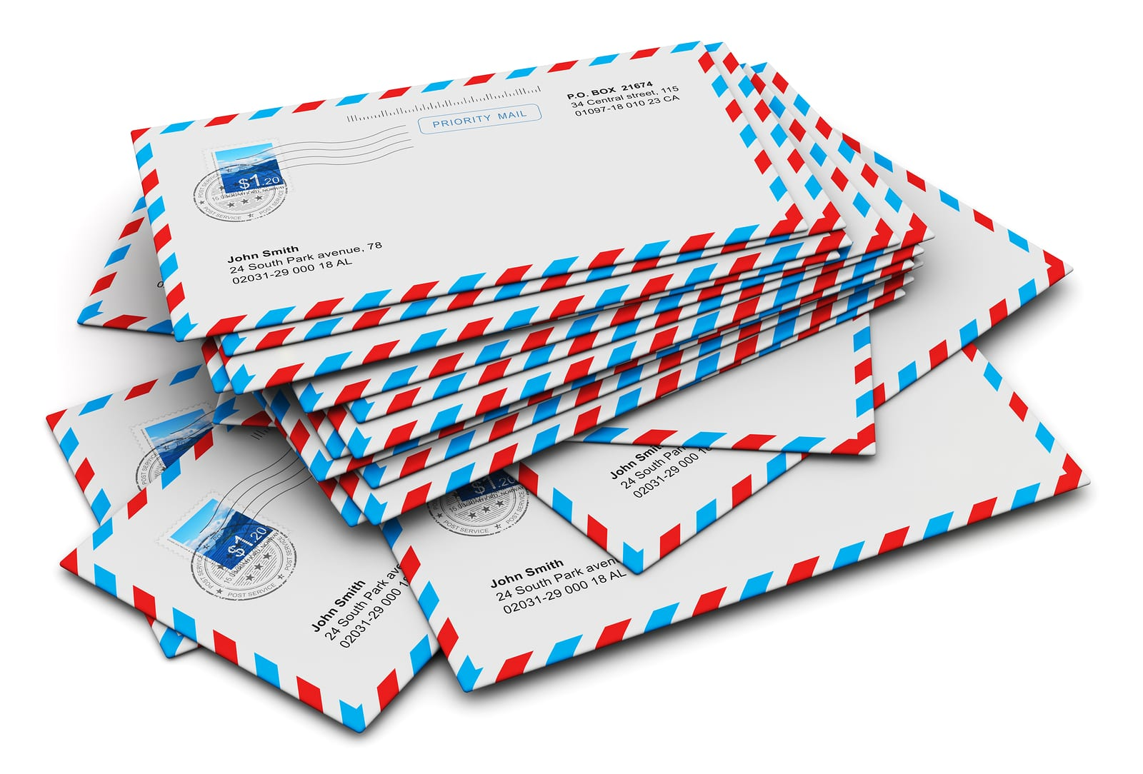 Stack of paper air mail letter envelopes isolated on white background