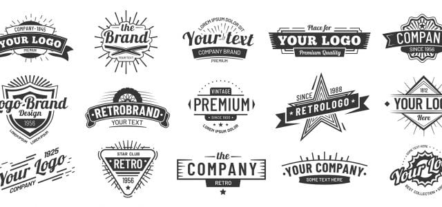 Fifteen logos with filler text show examples of different ways to design a logo to represent your company well to your audience.