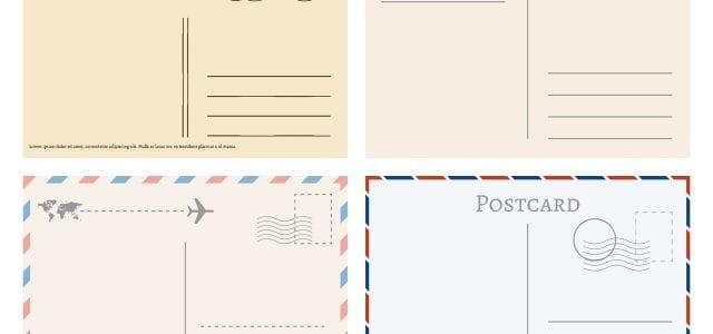 Vintage paper postal cards. Greetings from postcard vector template. Postage card, vintage post stamp, postal postmark for mail illustration