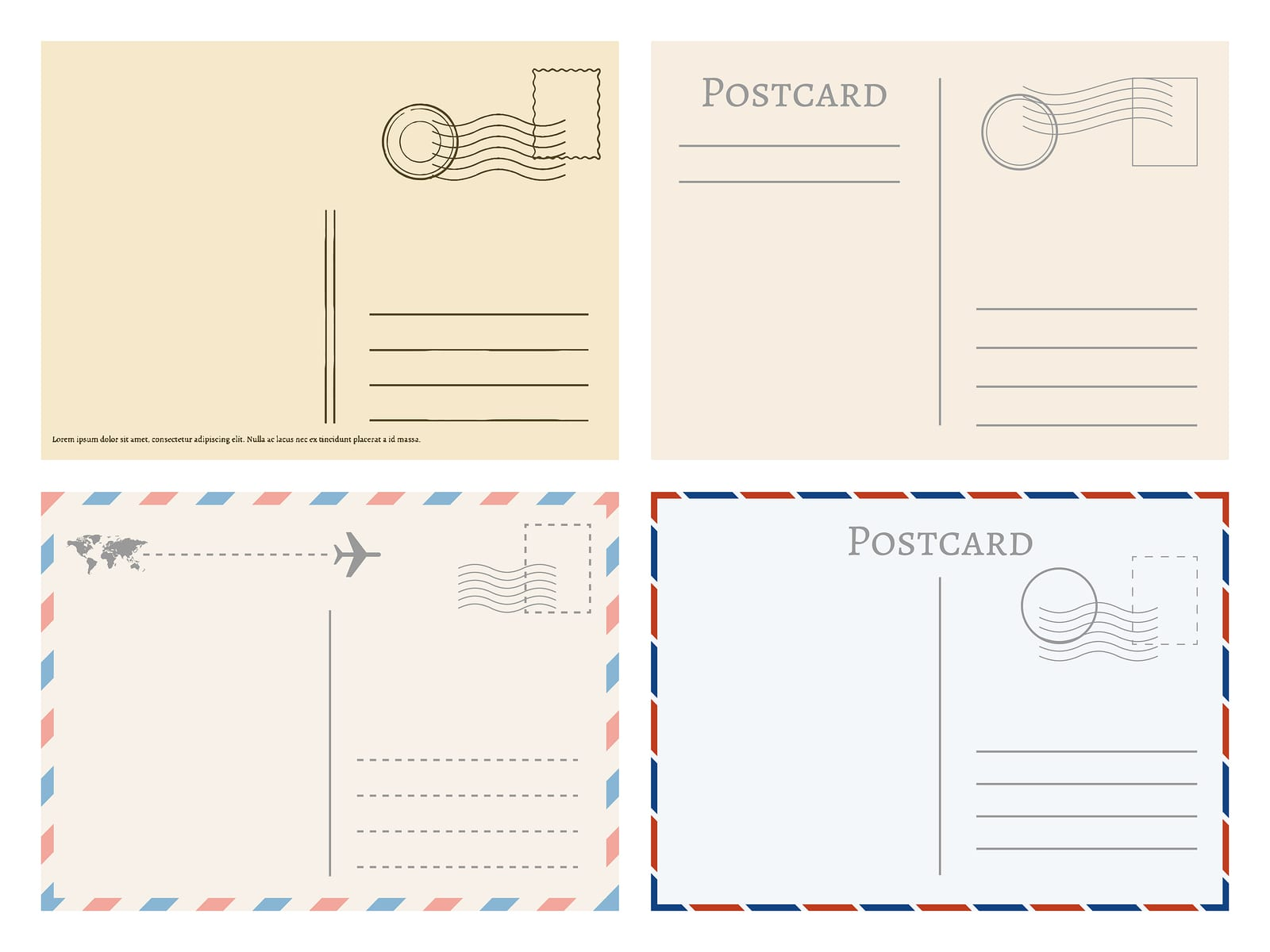 Vintage paper postal cards. Greetings from postcard vector template. Postage card, vintage post stamp, postal postmark for mail illustration