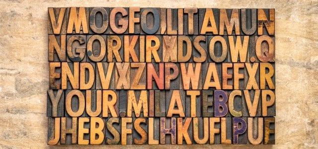 rectangular block of random vintage letterpress wood type printing blocks against textured bark paper