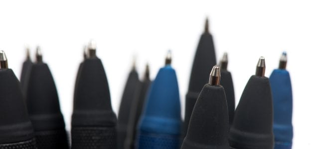 black and blue promotional pens