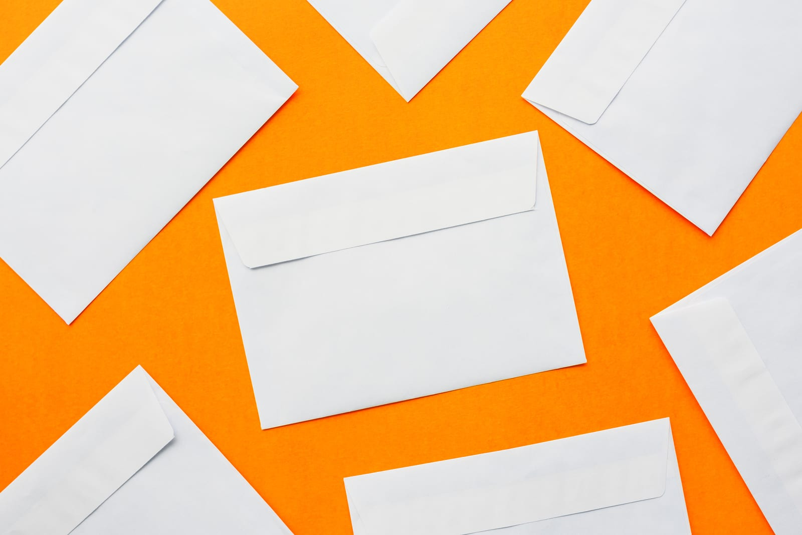 Blank post mail letter envelopes top view as mock up copy space