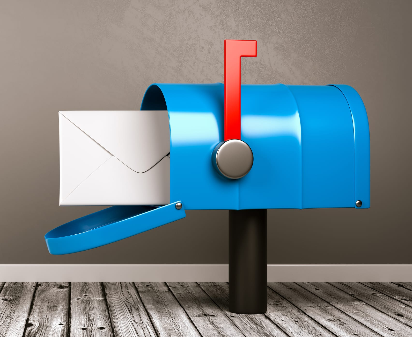 Blue Mailbox with Envelop on Wooden Floor in a Gray Wall Room with Copy Space 3D Illustration