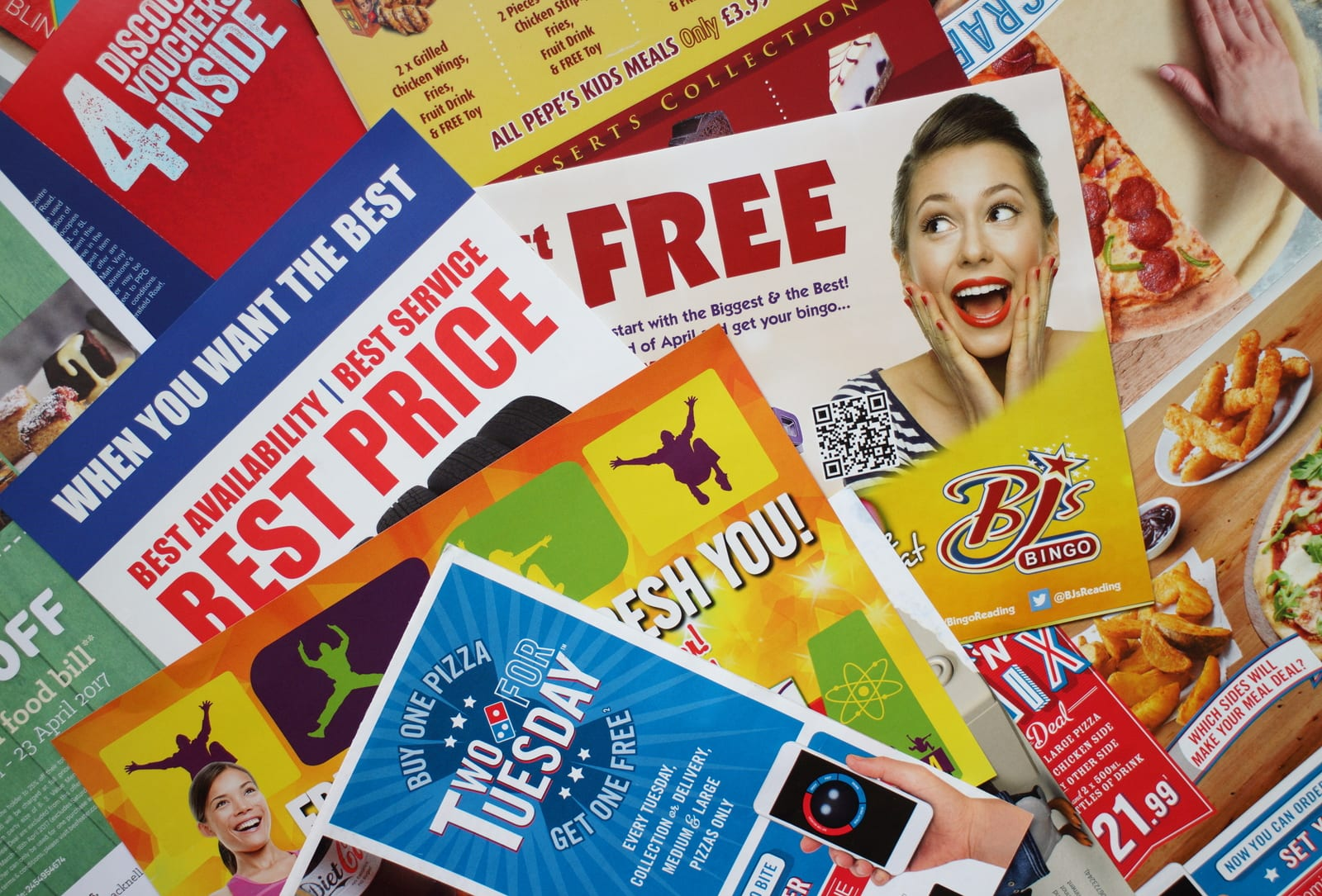 Sample of leaflets and brochures or Junk Mail delivered to a private address in Bracknell, England to advertise local retail and service businesses